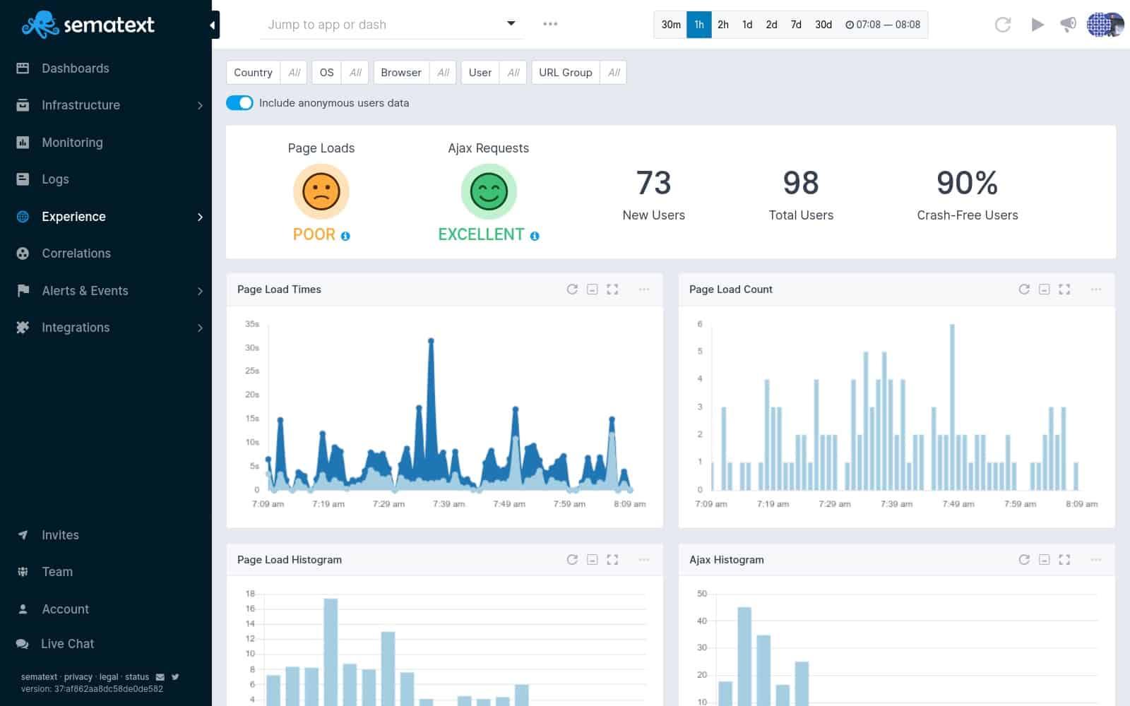 Sematext Experience Real User Monitoring