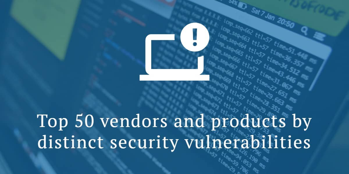 "Top 50 vendors and products by ""distinct"" security vulnerabilities"