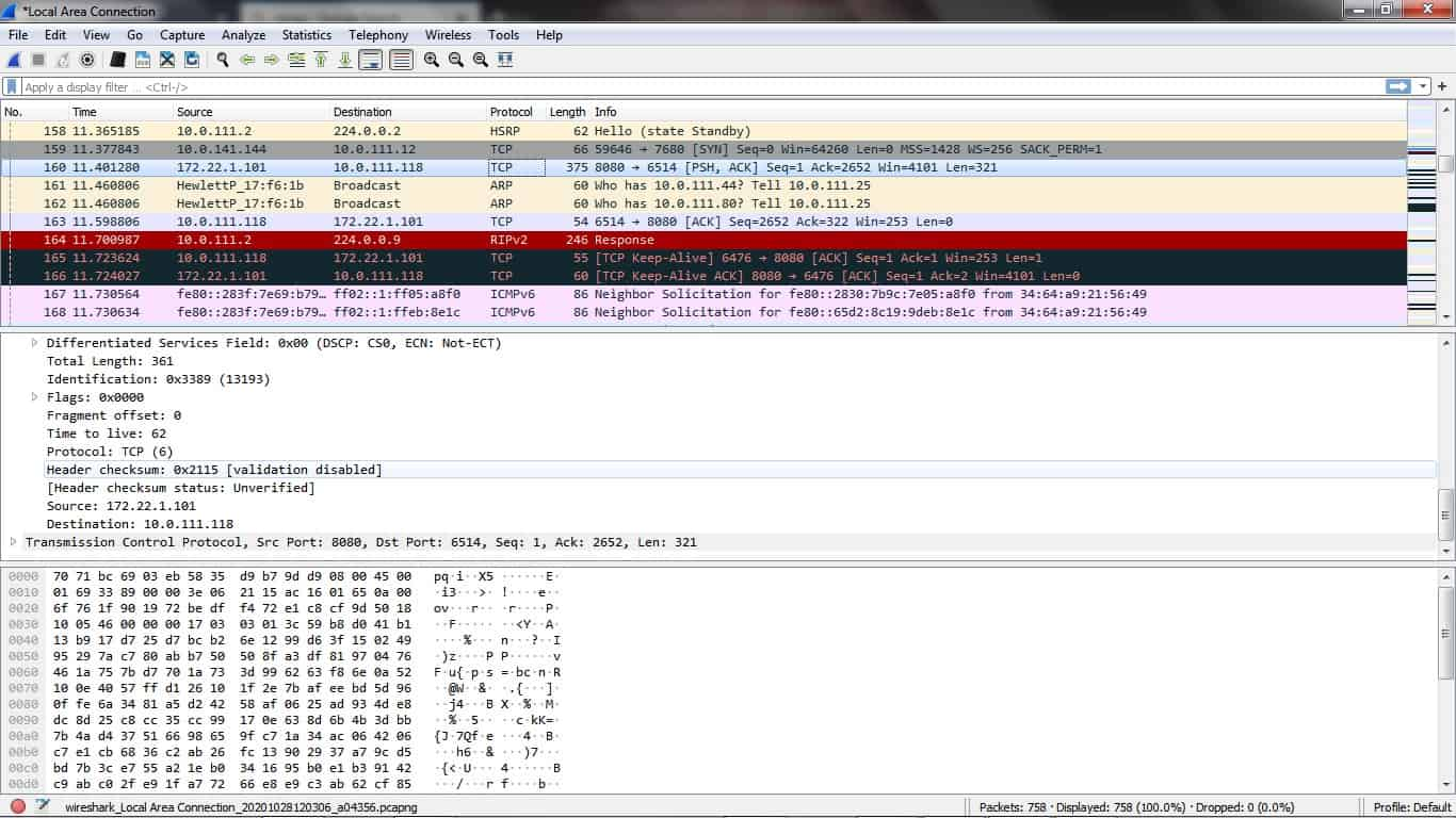 Wireshark dashboard
