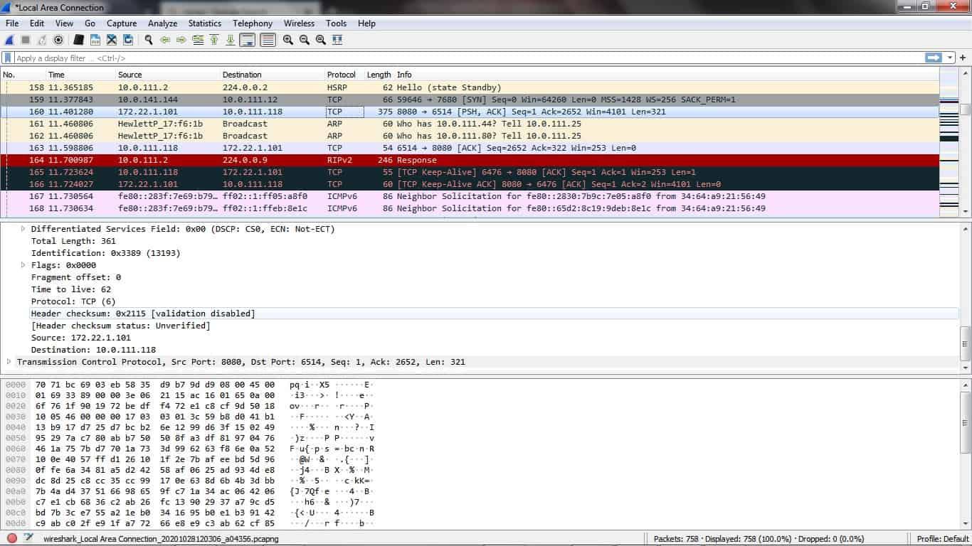 Wireshark dashboard