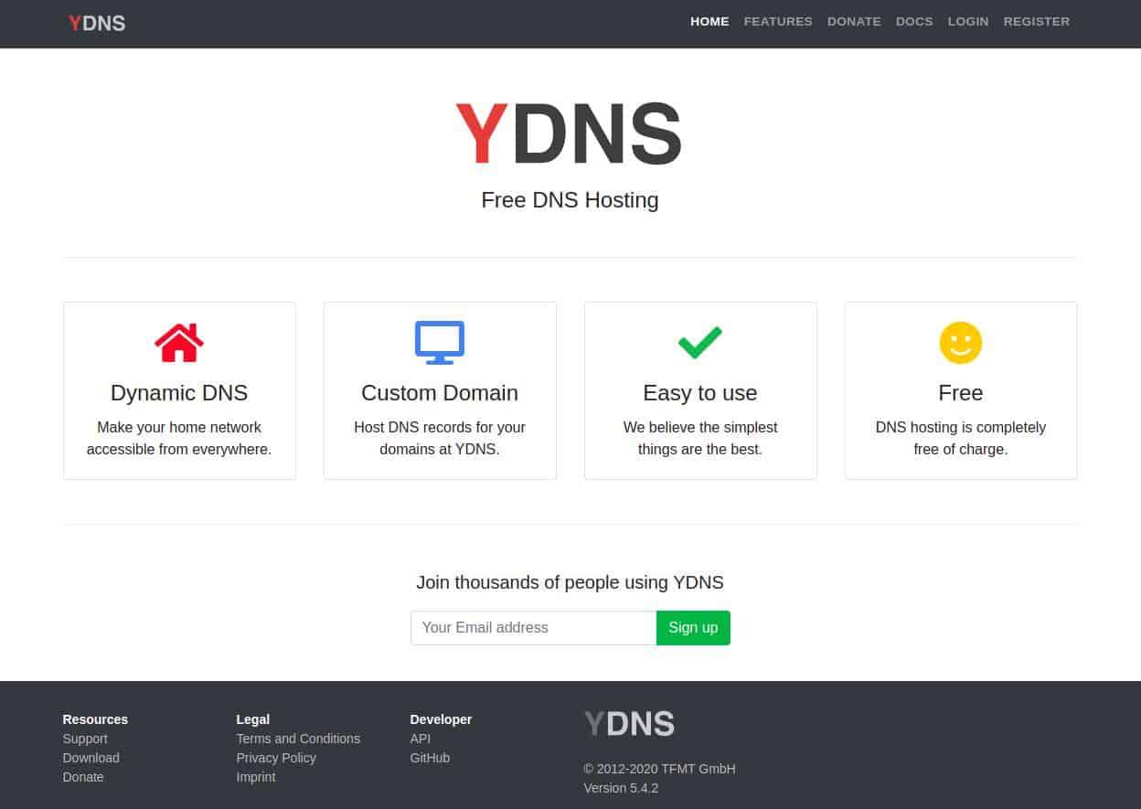 YDNS homepage
