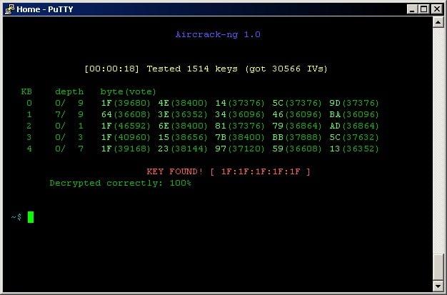 aircrack-ng screenshot