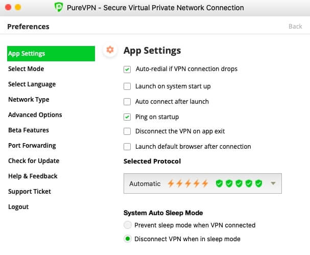 PureVPN app behavior settings.