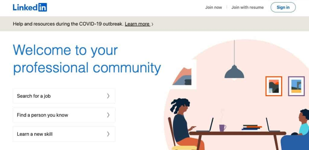 LinkedIn homepage.