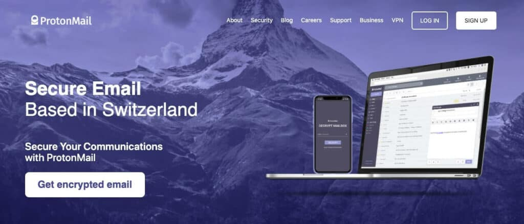 ProtonMail homepage.