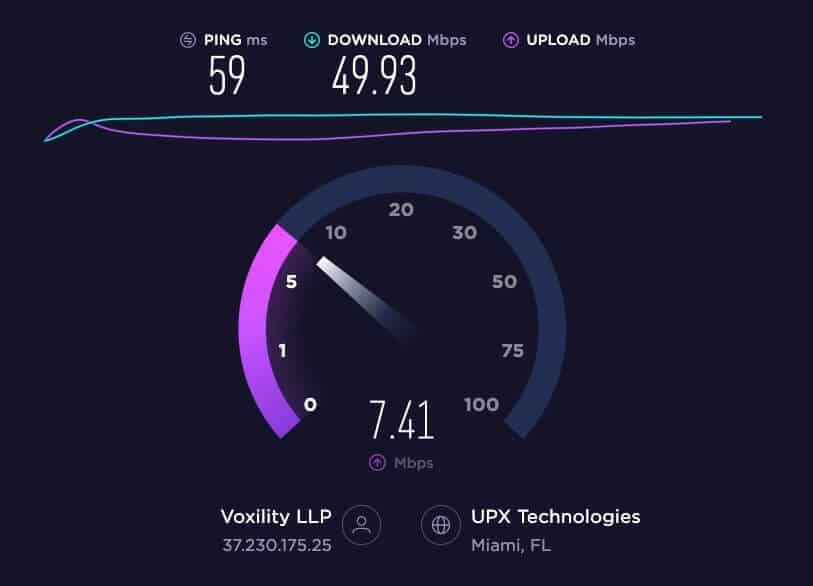 PureVPN Ookla speed test.