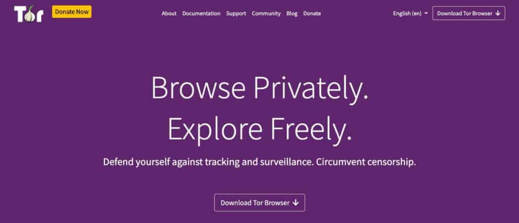 The Tor network homepage.