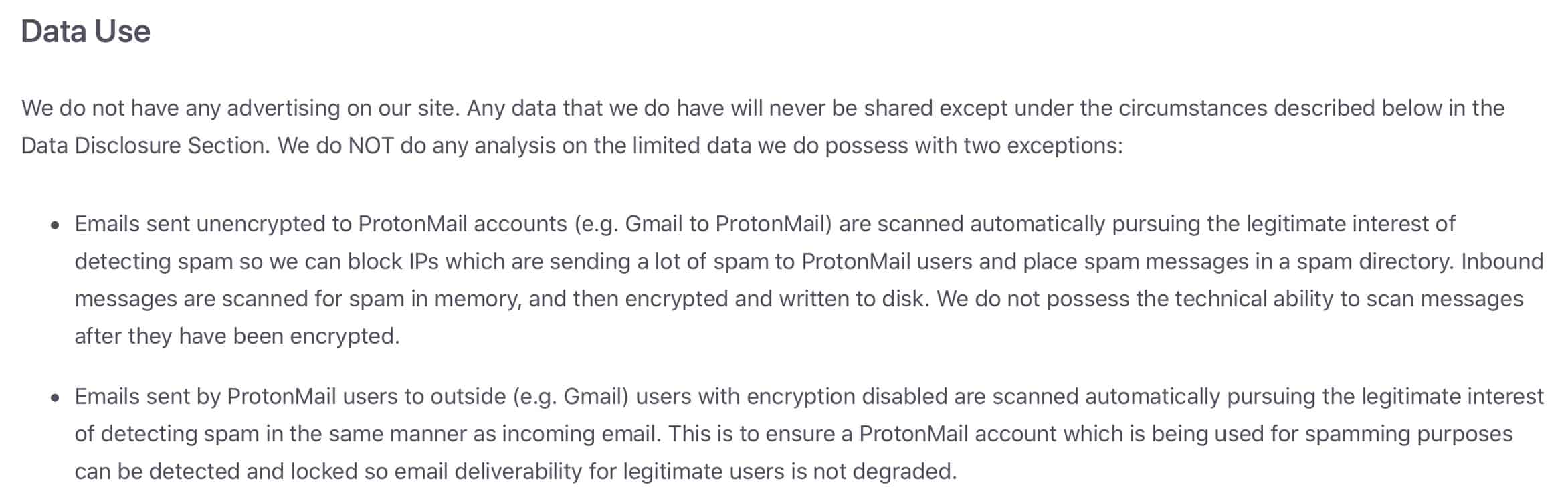 ProtonMail - Privacy Policy