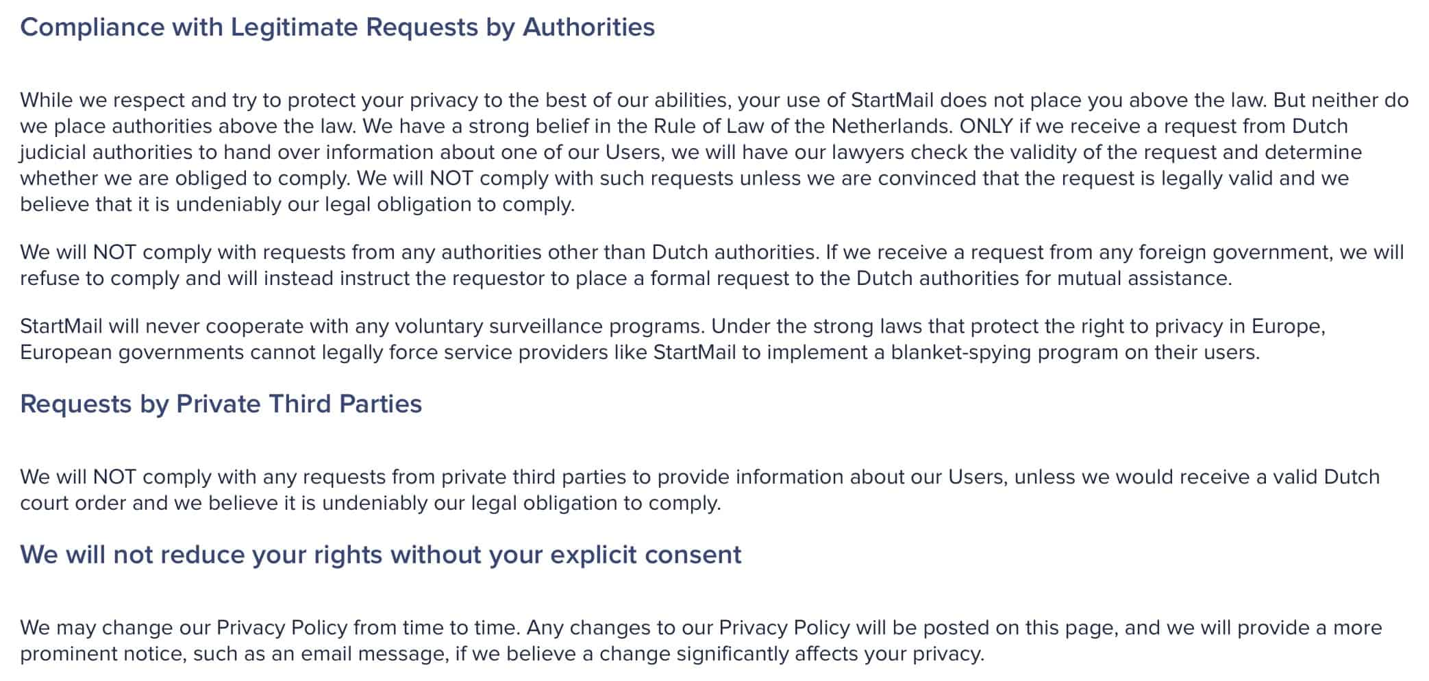 StartMail - Privacy Policy