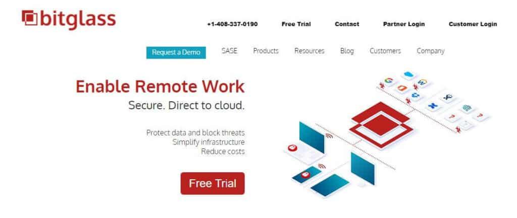 Bitglass homepage.