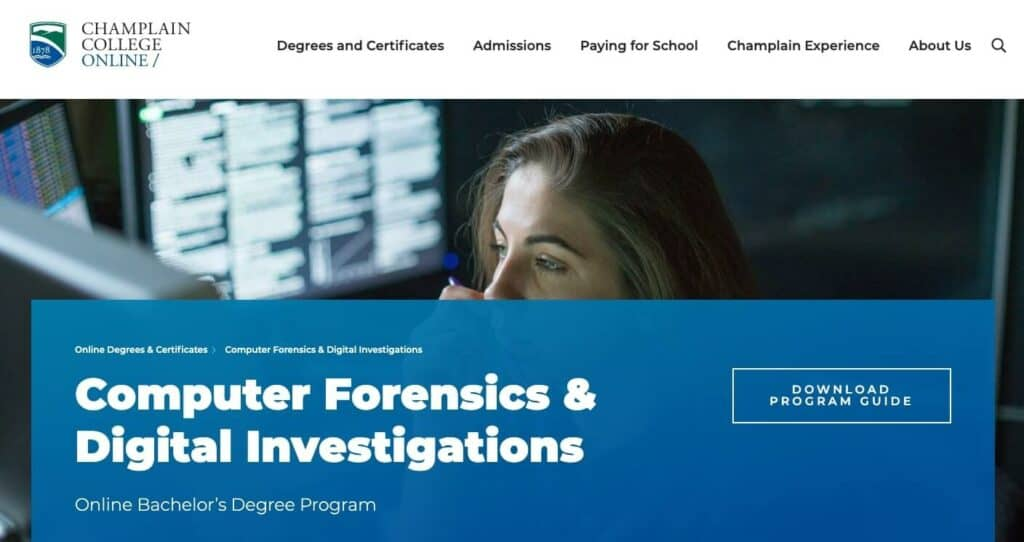 Champlain College's Computer Forensics & Digital Investigations