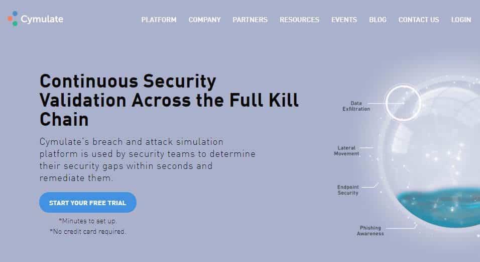 Cymulate homepage.