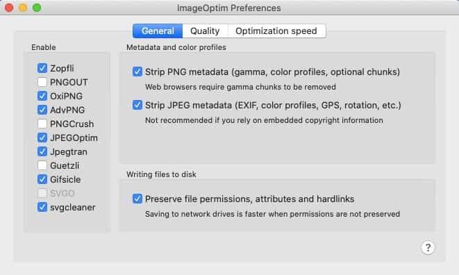 ImageOptim preferences.