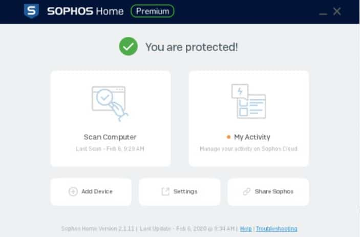 Sophos AV interface