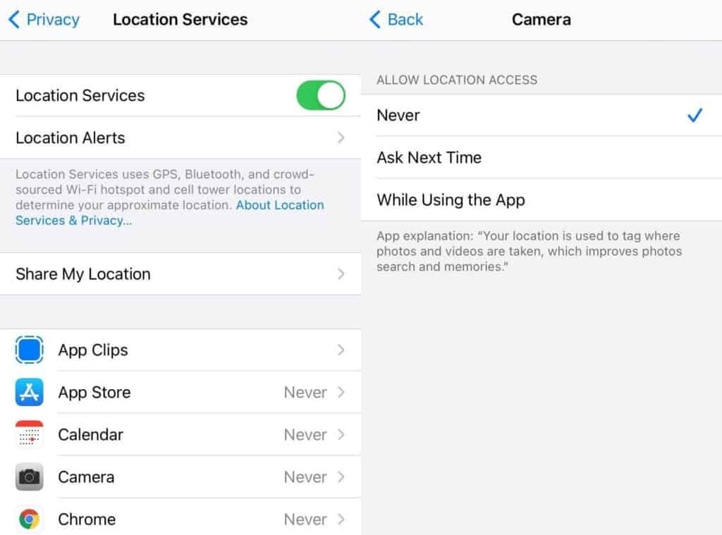 iOS Location Services screen.