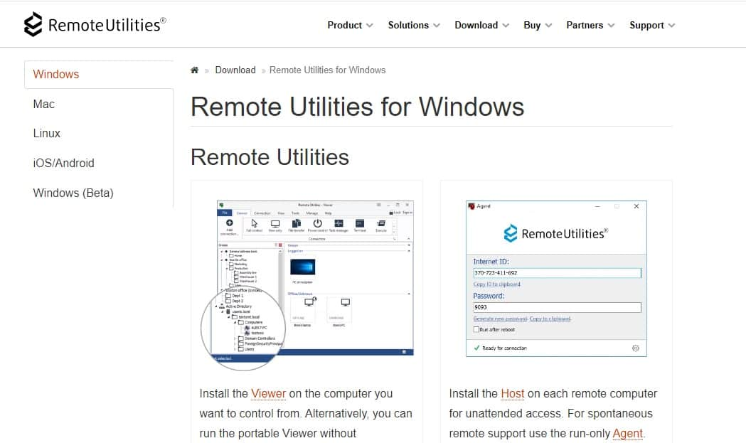 Remote Utilities for Windows Download page