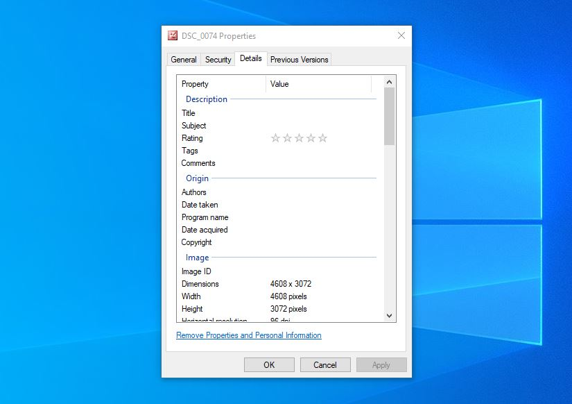 Details tab in Windows.
