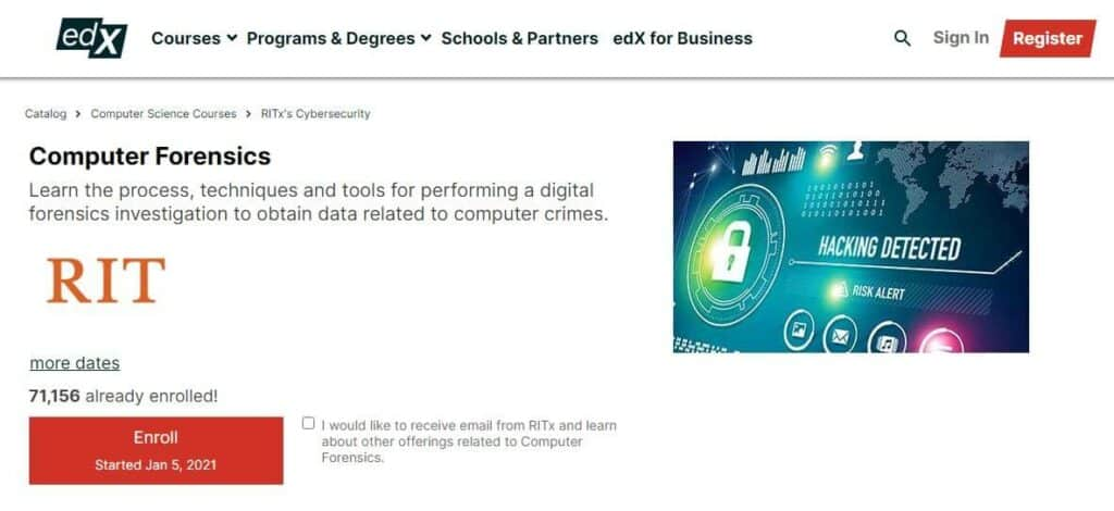 edX digital forensics course
