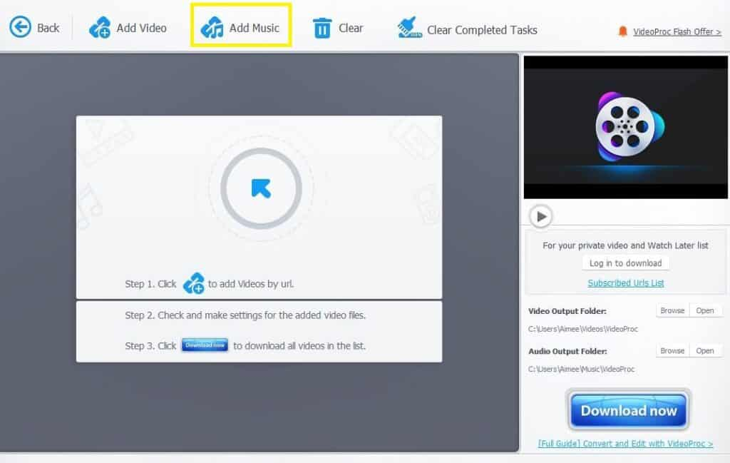 VideoProc Downloader add music option.