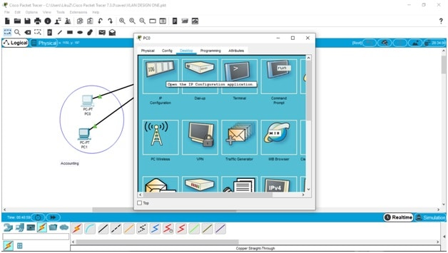 Desktop configuration and IP configuration menu