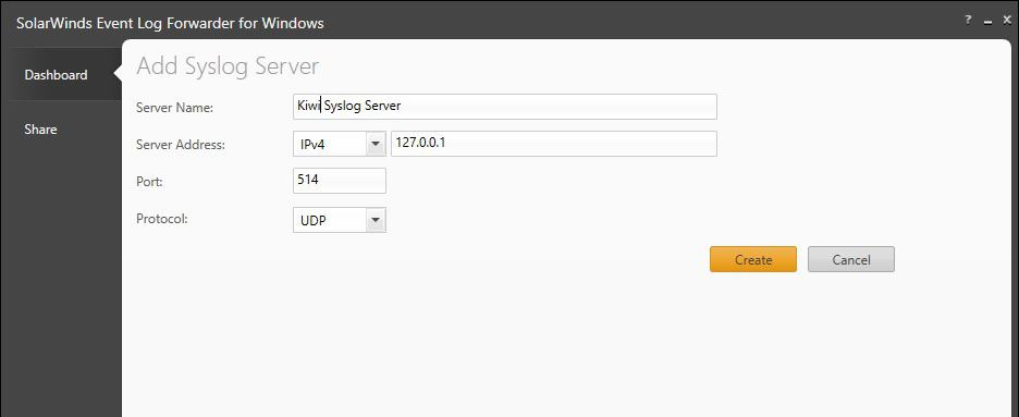 SolarWinds Event Log Forwarder for Windows Add Event Log Add Syslog Server Screen