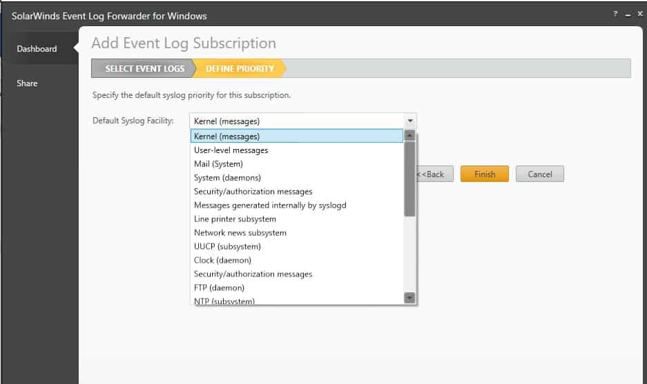 SolarWinds Event Log Forwarder for Windows Add Event Log Subscription Define Priority Screen