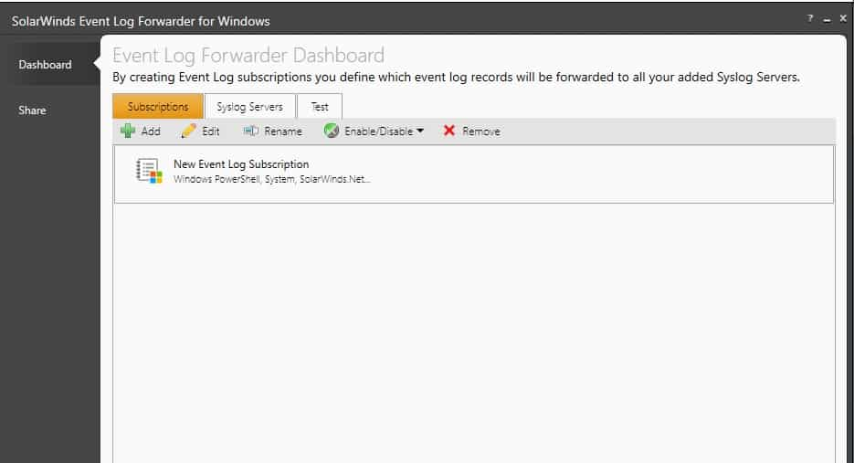 SolarWinds Event Log Forwarder for Windows Add Event Log New Entry Screen