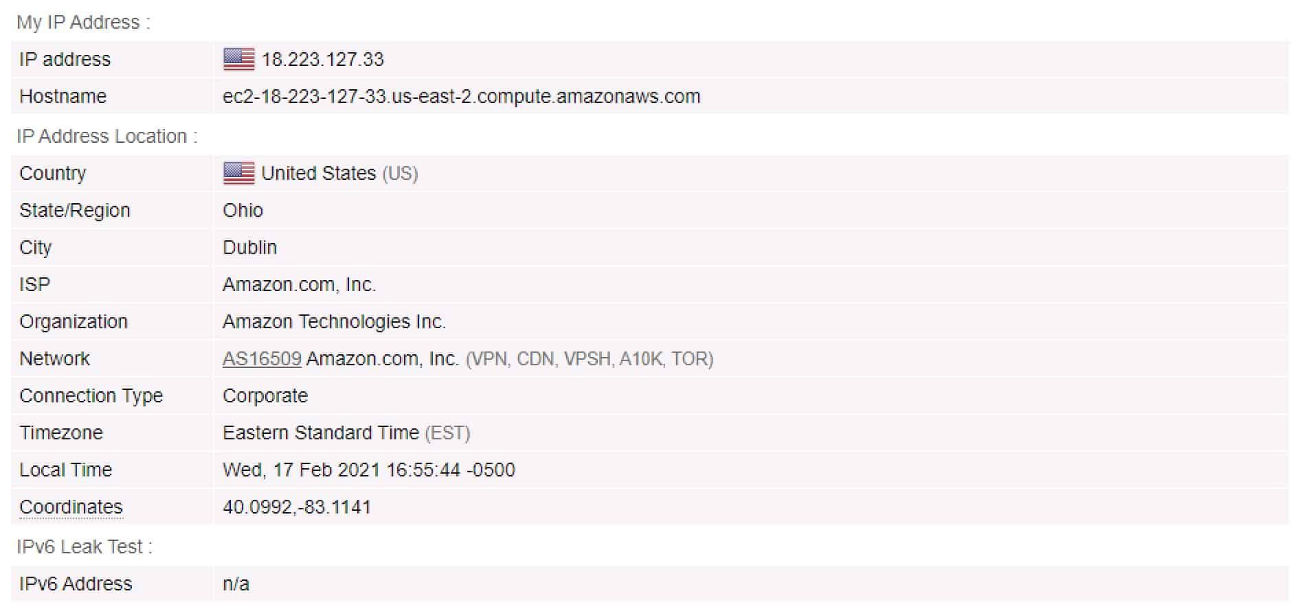 AirVPN - IP Test - No VPN