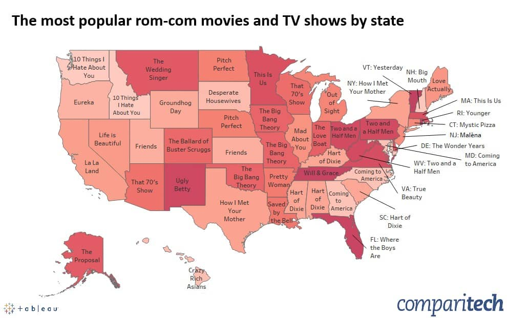 Most popular rom-com movies and TV shows by state