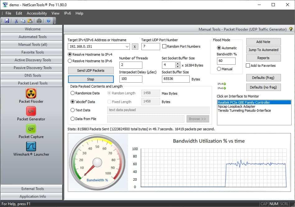 NetScanTools Pro 11 packet flooder dashboard