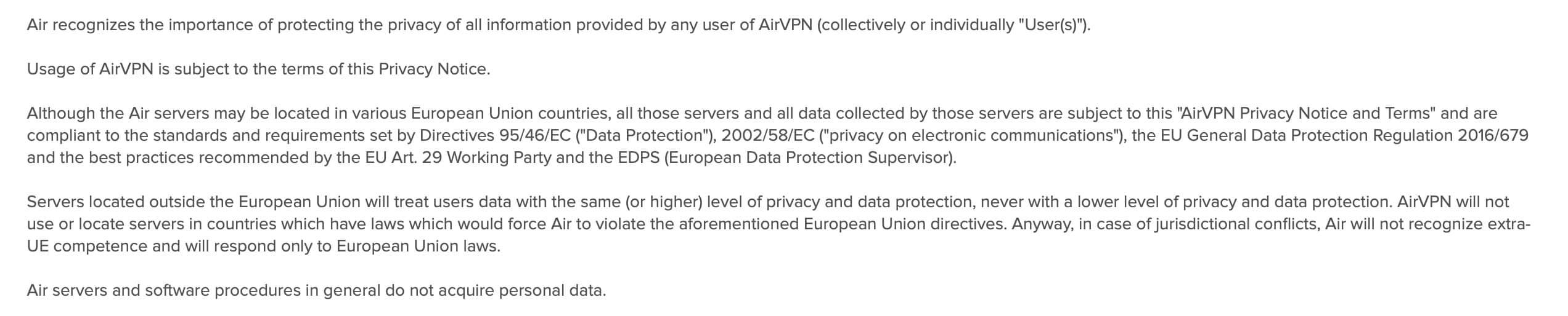 AirVPN - Privacy Policy 1
