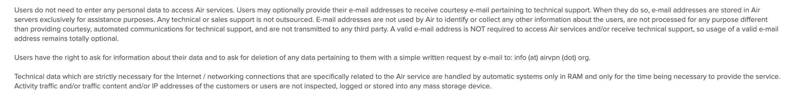 AirVPN - Privacy Policy 2