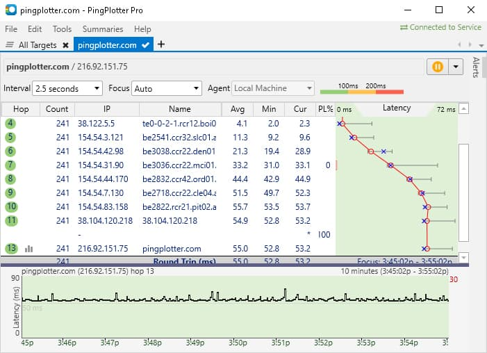PingPlotter Traceroute command dashboard