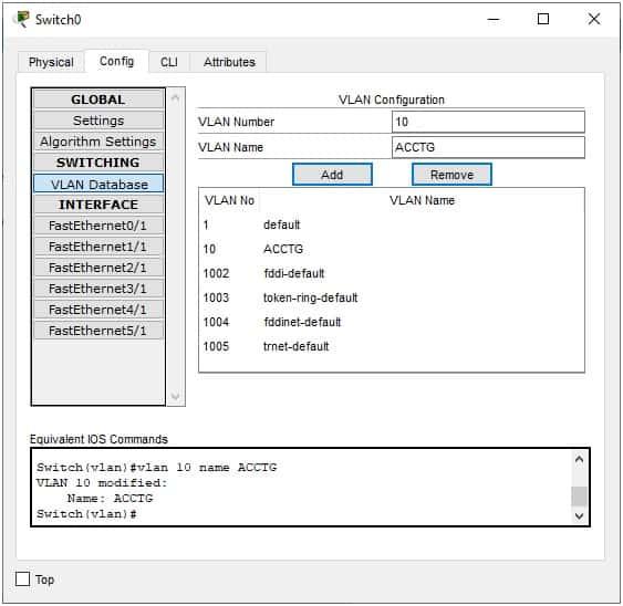 Switch create VLAN GUI