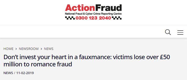 Action Fraud headline.