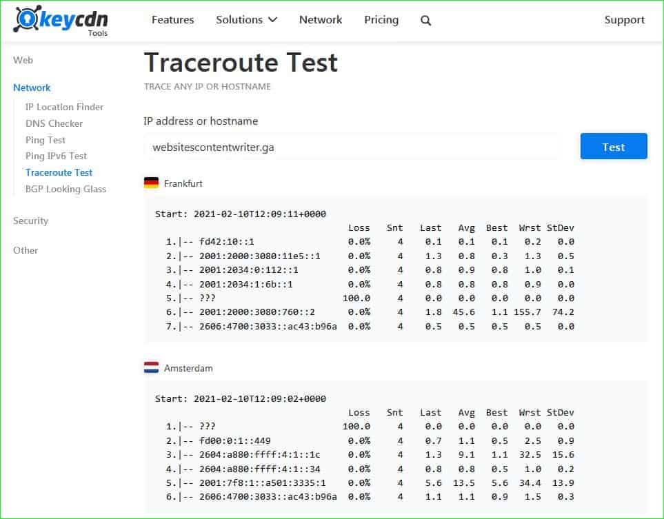 keyCDN traceroute tool