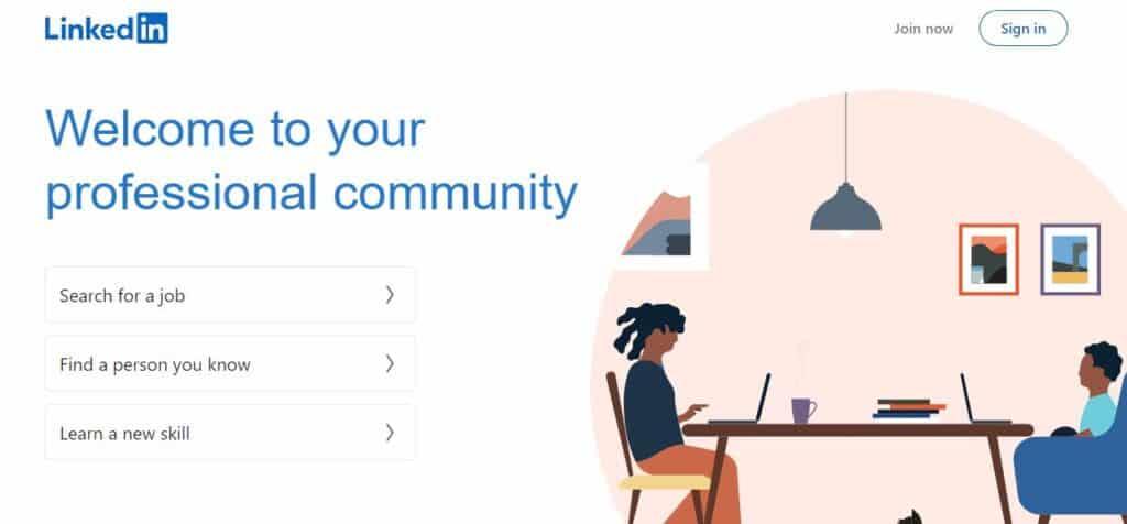 The LinkedIn homepage.