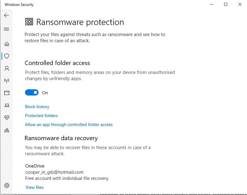 Windows Security settings Ransomware