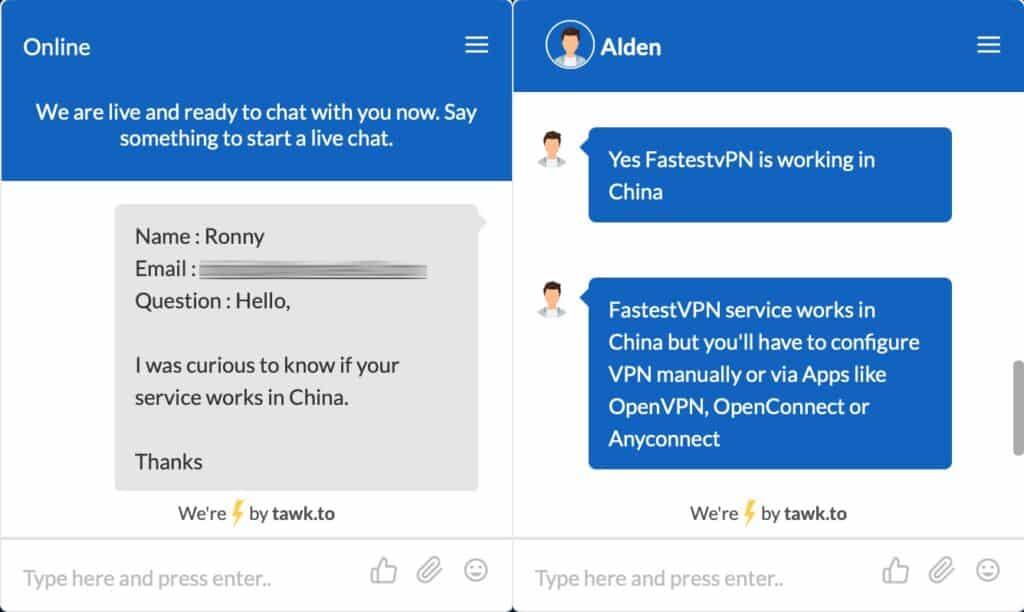FastestVPN - Support Chat - China
