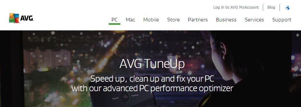 AVG TuneUp homepage.
