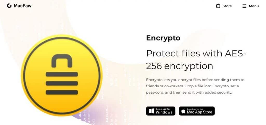 Encrypto homepage.
