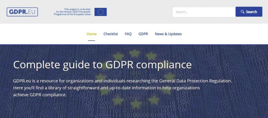 GDPR homepage.