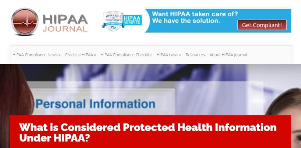 HIPAA journal page.