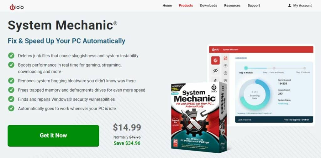 Iolo System Mechanic homepage.