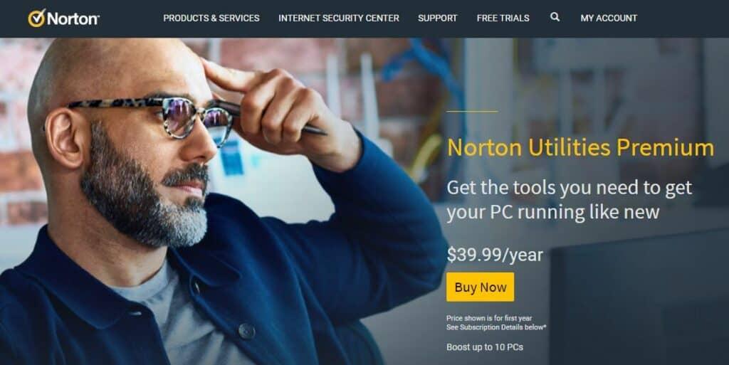 Norton Utilities Premium homepage.