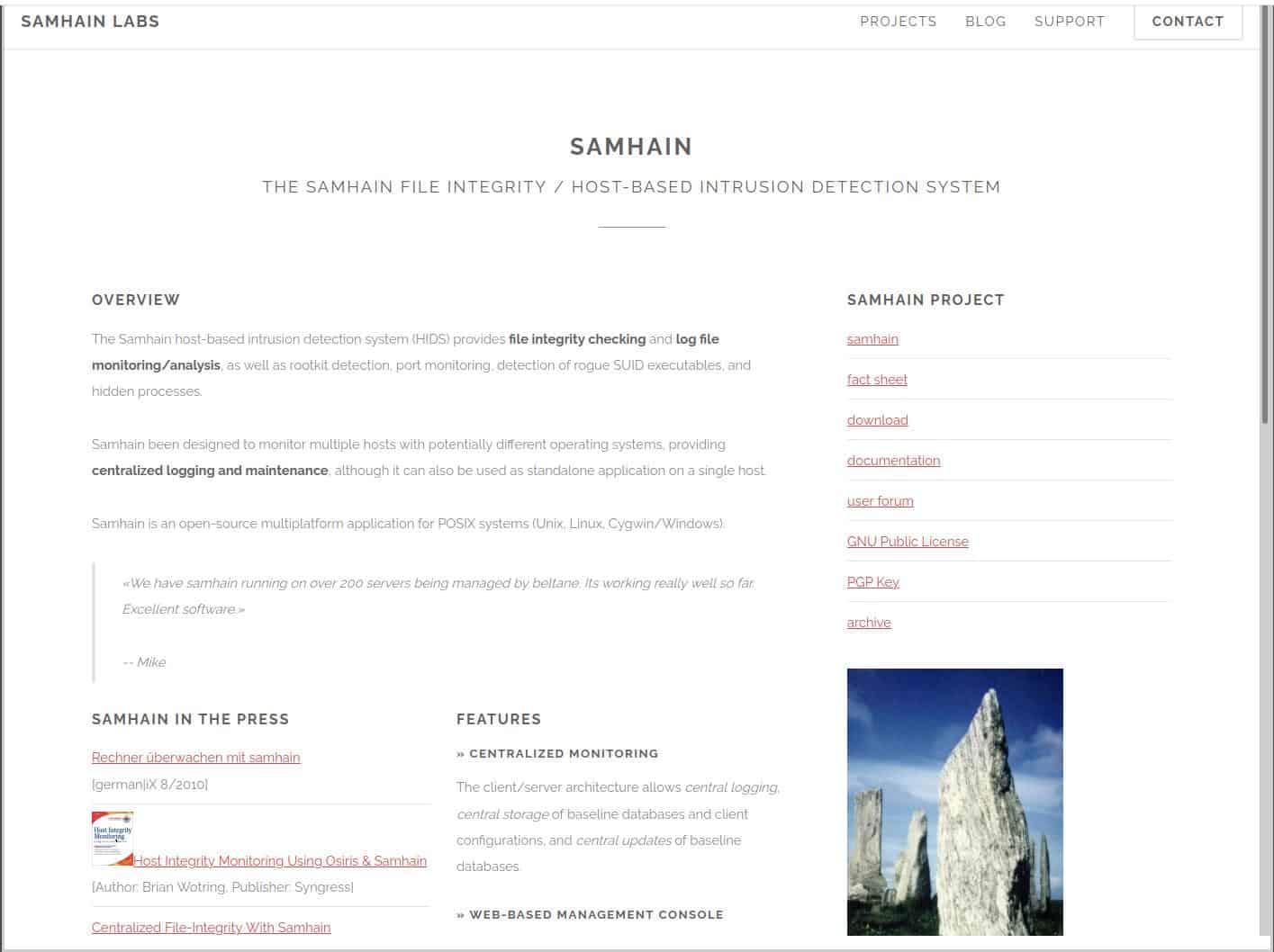Samhain Labs - File Integrity website Screenshot