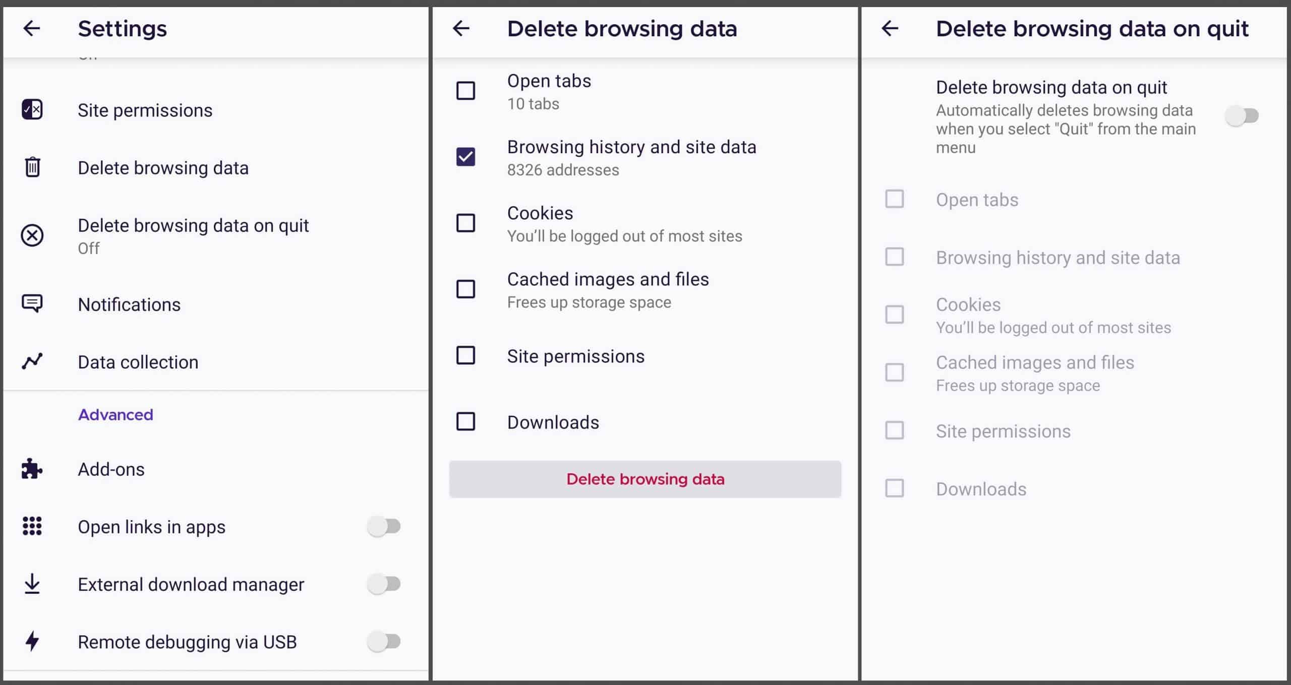 How to clear browser history firefox mobile