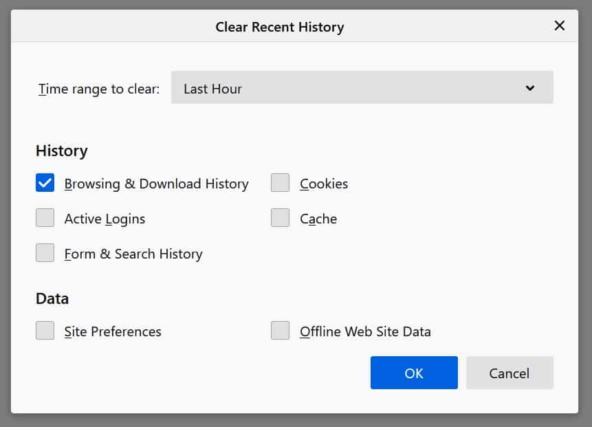 How to clear browser history in firefox