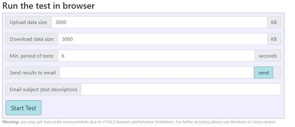 Screenshot showing Web-based interface for StarTrinity Jitter and Packet Loss Test tool