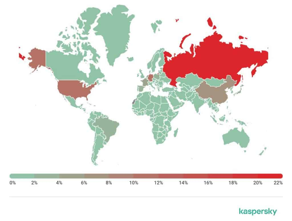 Sources of spam by country.